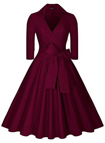 worlsky-womens-deep-v-neck-half-sleeve-bow-belt-vintage-classical-casual-swing-dress-winesmall