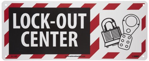 NMC SA148R Lockout-Tagout Sign, Legend