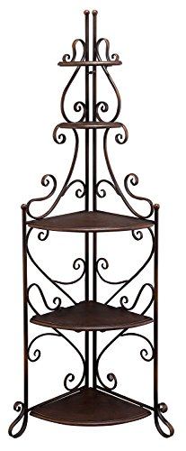 Aspire Jeana Corner Baker's Rack Brown. This Home Kitchen Free Corner Standing organizer is ideal for Kitchen Living Room Entryway with Five shelves 3 large, 2 small