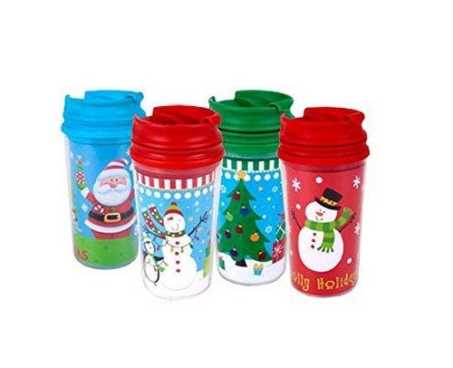 Childrens Kids Christmas Holiday Travel Mugs 11-oz Customizable 4-pack (Chocolate Kids Christmas)