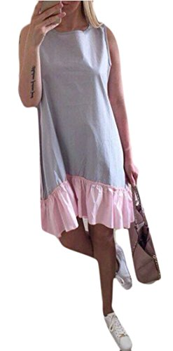 Blue Sun Splice Loose Crewneck Womens Light Sleeveless Ruffle Dress Cruiize Fit PB4vnFZq