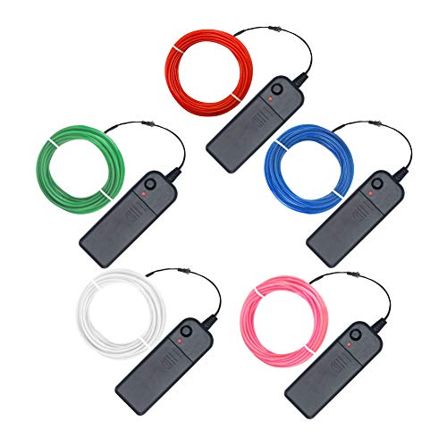 El Wire Bulk (EL Wire Neon El Wire kit 15ft Electroluminescent Wire 5 Pack with Red Green Blue White Pink,Portable el Wire Inverter for DIY Dress)