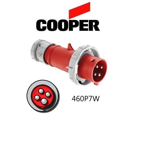 IEC 309 460P7W Plug, 60A, 480V, 3 Pole, 4 Wire, 3-Phase, Watertight, Red - Cooper # AH460P7W