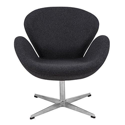 LeisureMod Swan Mid-Century Modern Living Room Accent Side Lounge Upholstered Armchair Dark Grey Wool