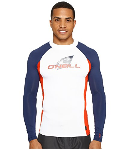 O'Neill Wetsuits Men's UV Sun Protection Skins Long Sleeve Crew Sun Rash Guard, White/Red/Navy, XX-Large