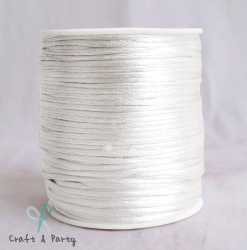 (White 1.5mm x 100 yards Rattail Satin Nylon Trim Cord Chinese Knot)