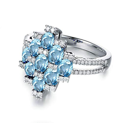 (Adisaer-Women Engagement Ring 925 Sterling Silver Plated Solitaire WH 3X5Mm Square Blue Topaz Ring Size 7)