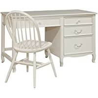 Bolton Furniture Emma Large Pedestal Desk with Four Drawers, White