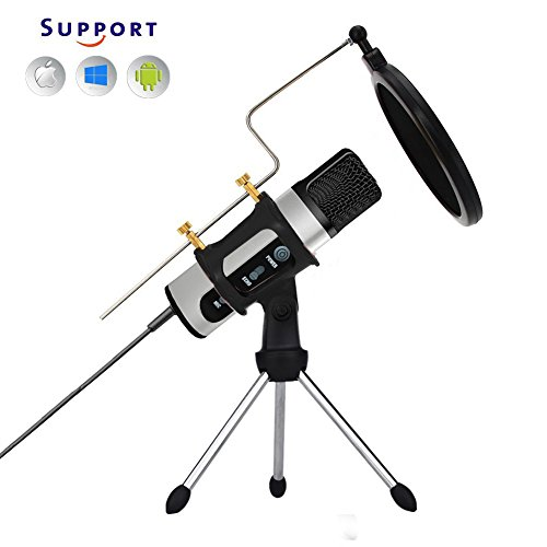 TKGOU Recording Microphone, Microphone for iphone phone With Tripod Stand & Pop Filter & Shock Mount, Computer Microphone With Monitor/Echo Karaoke/Voice Changer,Mic for Karaoke singing(M991ST)