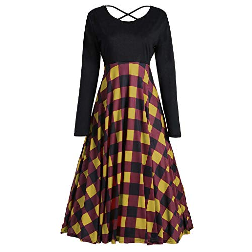 Shusuen Dresses for Women Loose Vintage Casual Long Sleeve High Waist Gown Cross Bandage Plaid Stitch Party Dress -