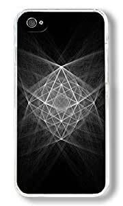 Abstract Structure Chalk Illustration Custom iPhone 4S Case Back Cover, Snap-on Shell Case Polycarbonate PC Plastic Hard Case Transparent