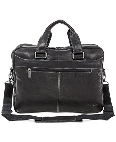 "Kenneth Cole ""Take The Op-Port-unity"" Leather Double Gusset 15.6″ Laptop Briefcase (Black)"