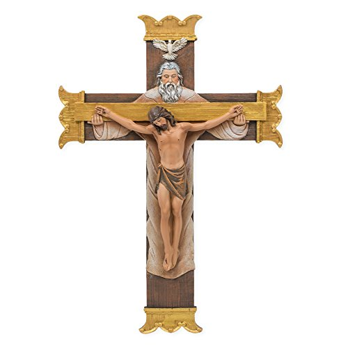 (Joseph's Studio by Roman Joseph's Studio Holy Trinity Corpus 7 x 10 Inch Resin Stone Decorative Wall Hanging Crucifix Cross)