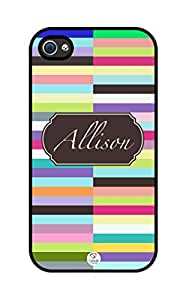 iZERCASE Personalized Unique Colorful Stripes Pattern RUBBER iphone 4 case - Fits iphone 4, iphone 4S T-Mobile, AT&T, Sprint, Verizon and International (Black)