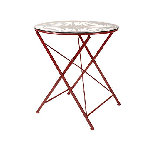 Kate and Laurel Kate Laurel Thrapston Metal Glass Round Dining Table, Red