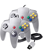 suily 2 Pack Game controller Wired Gamepad Joystick für N64 Konsole N64 System, Grau
