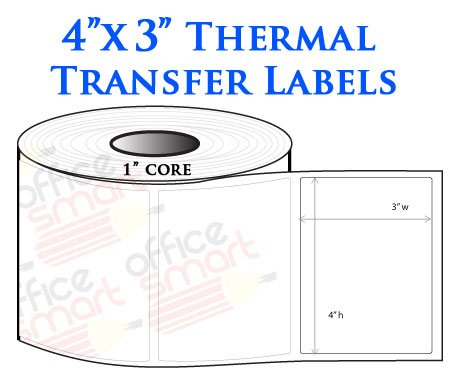 4x3 Thermal Heat Tranfer Labels for Zebra GC420t GK420t GX420t TLP2442 TLP2844 Wax Resin Ribbon Barcode Printer - 4 Rolls