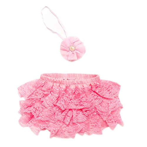 Newborn Photography Props Girl, Shybuy Toddler Baby Newborn 0-3 Months Lace Set Clothes Photo Prop Anniversary Outfits (Pink)