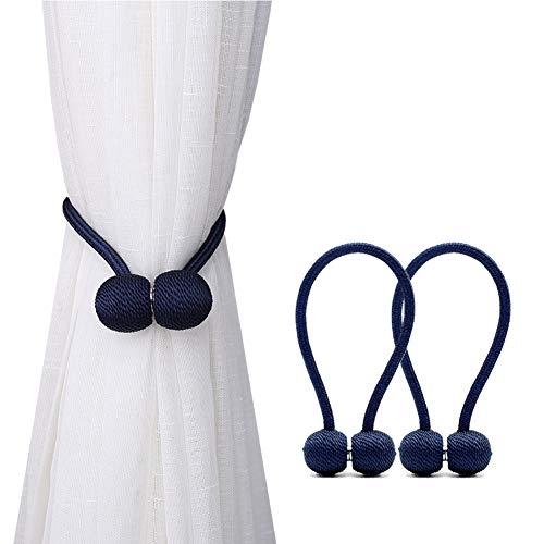 DEZENE Magnetic Curtain Tiebacks,The Most Convenient Drape Tie Backs,2 Pack Decorative Rope Holdback Holder for Small, Thin or Sheer Window Drapries,12 Inch Long,Navy Blue