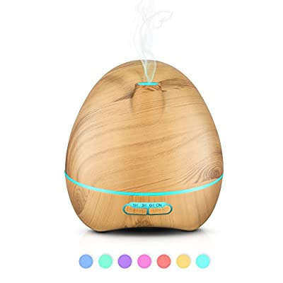 Essential Oil Diffuser, Homily 300ml Aromatherapy Diffuser with Wood Grain Design, Zen Style, Cool Mist and Adjustable 7 Colors Rainbow LED lighting, Low Water Auto Shut-off, Up to 6 Hours Timer