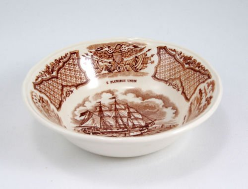 Alfred Meakin Fair Winds 5-1/4 Inch Fruit Bowl USS Portsmouth off the Barrier Forts Canton ()