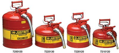 Justrite 7250130 5 Gallon Red AccuFlow Galvanized Steel Type II Vented Safety Can with Stainless Steel Flame Arrester and 1 Metal Hose, Plastic, 17.5