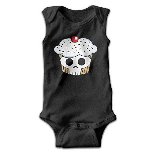 Hizhogqul Skull Cupcaks Baby Sleeveless Romper Bodysuit Jumpsuit 18 Months Black