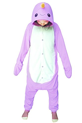 WOTOGOLD Animal Cosplay Costume Unisex Adult Purple Narwhal Pajamas Purple,XS fit height -