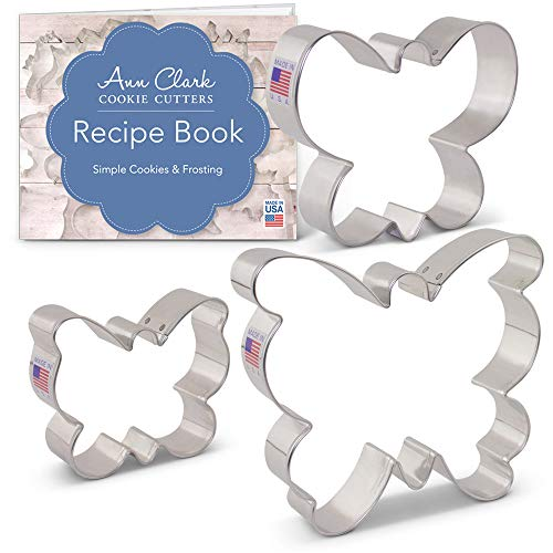 (Butterfly/Moth Cookie Cutter Set with Recipe Booklet - 3 piece - Ann Clark - Tin Plated)