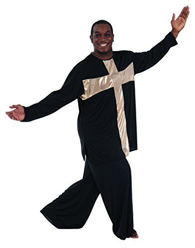 (Body Wrappers M622 / M622XX Mens Praise Dance Cross Components Pullover (Small, White w/ Gold))