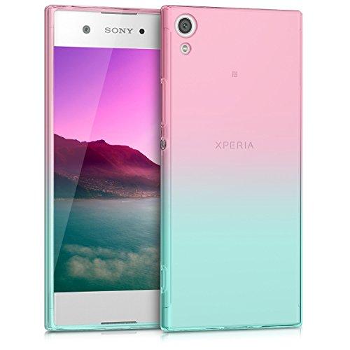 kwmobile Funda para Sony Xperia XA1 - Carcasa para móvil de TPU con diseño Bicolor - Rosa Fucsia/Azul/Transparente