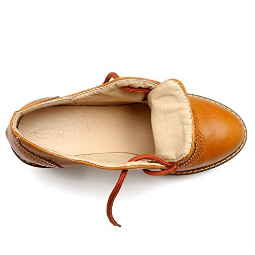 Zapatos RAZAMAZA de Brown Mujer Ancho Oxford Yellow Tacon para 7Z7xRr