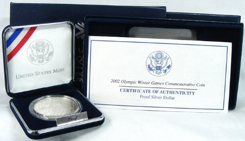 Olympic Commemorative Coin (2002 Proof Olympic Winter Games Commemorative Silver Dollar with Box)