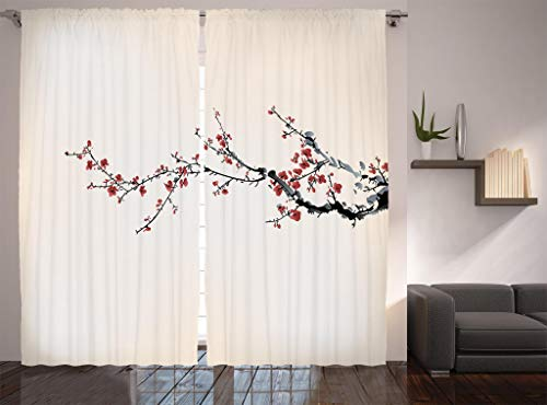 Ambesonne Watercolor Flowers Decor Collection, Cherry Branches Blooms Flowers in Classic Asian Painting, Window Treatments, Living Room Bedroom Curtain 2 Panels Set, 108 X 84 Inches, Paprika Ivory