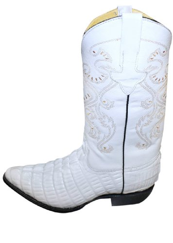 Krokodil Alligator Ontwerp Echt Leer Handgemaakte Cowboy Heren Westernlaarzen Beige