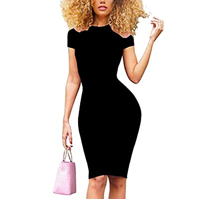 GOBLES Women's Short Sleeve Casual Bodycon Midi Elegant Cocktail Party Dress at Women's Clothing store