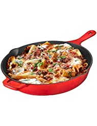 Cast Iron Skillet, Non-Stick,12 inch Frying Pan Skillet Pan For Stove top, Oven Use & Outdoor Camping with Pour Spouts, Even Heat Distribution (Enameled)