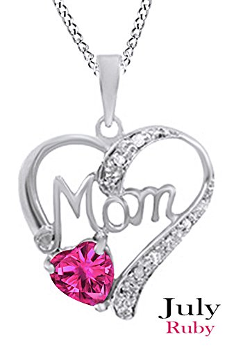 Simulated Ruby & White Diamond Accent MOM Heart Pendant Pendant Necklace in 925 White Gold Over Sterling Silver