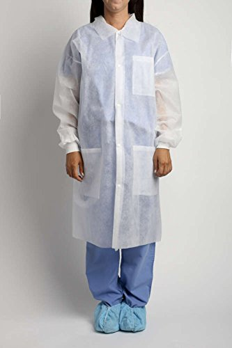 MediChoice Laboratory Coats, Standard, Disposable, Three-Pocket, 5 Snap-Front, Non Woven, Sturdy Polypropylene, Large, White (Case of 25)
