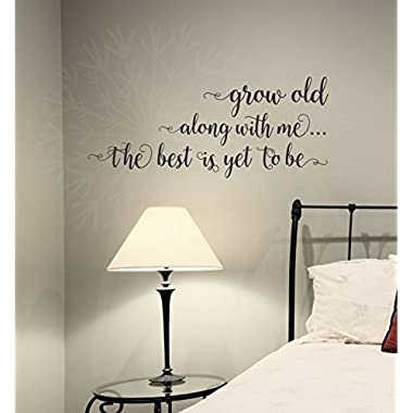 Wall Decor Plus More WDPM3879 Grow Old Along with Me Bedroom Wall Saying Vinyl Decal Stickers, 23x10-inch, Black, 23  x 10
