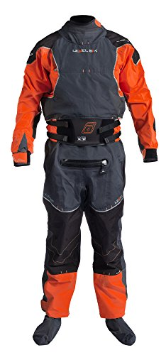 Level Six Emperor 3.0 Ply Drysuit, X-Large, Blaze Red/Charcoal