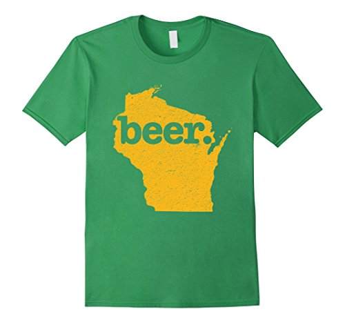 Mens Wisconsin Beer Home State Love Cheesehead Distressed T-Shirt Medium Grass (University Cheese)