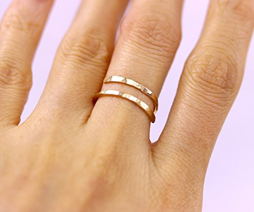 Delicate Handmade Hammered Bypass Wire Ring in 925 Sterling Silver, 14K Rose Gold Fill or 14K Rose Gold Filled Adjustable Wrap Double Ring, Knuckle Midi Toes Jewelry