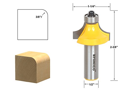 Yonico 13164 Round Over Edging Router Bit with 3/8-Inch Radius 1/2-Inch Shank - 3/8 Shank Router Bit