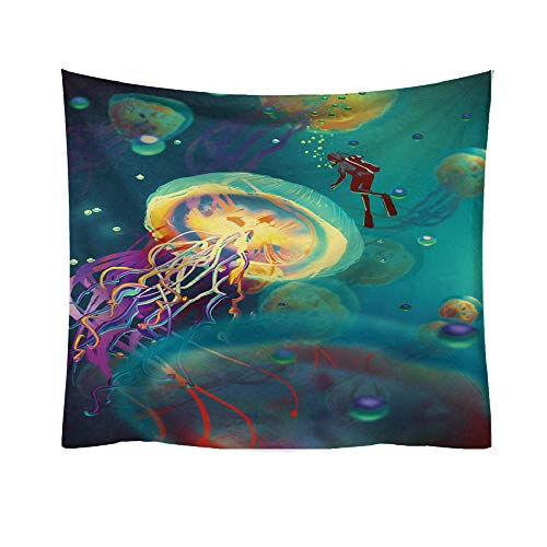 Hot Sale!DEESEE(TM)Jellyfish Print Tapestry Planet Fantasy World Style Decorative Tapestry Home Decor (H)