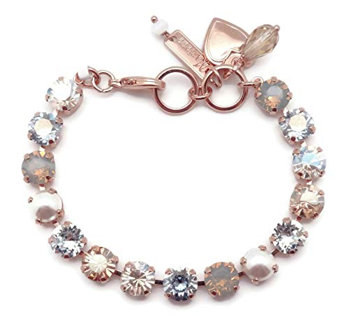 Mariana Seashell Swarovski Crystal Rose Goldtone Bracelet Light Grey Opalescent Clear Silk Mix Bette ()