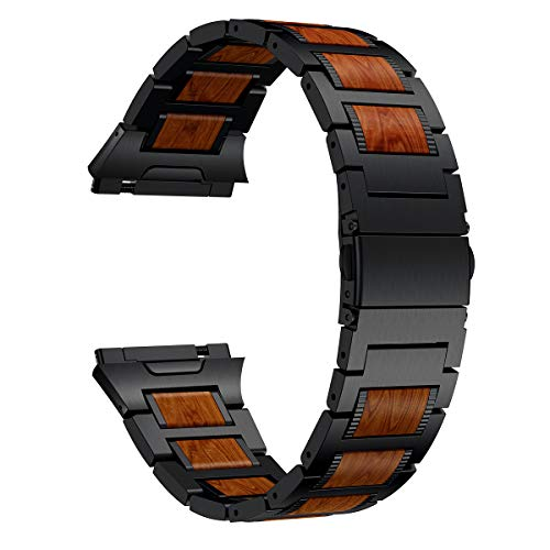 LDFAS Wood Band Compatible for Fitbit Ionic Band, Natural Wood Red Sandalwood Black Stainless Steel Accessory Metal Watch Strap Compatible for Fitbit Ionic Smartwatch (Update)