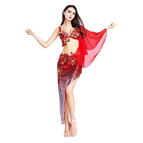 ROYAL SMEELA Belly Dance Bra and Hip Skirt for Women Belly Dancing Costume Set Red Belly Dance Hip Scarf Plus Size, 4 Sizes, 2 Colors - Hand Embroidery Belly Dance Costume