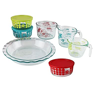 Pyrex 100 Year 10-Piece Vintage Future Glass Bakeware and Food Storage Set