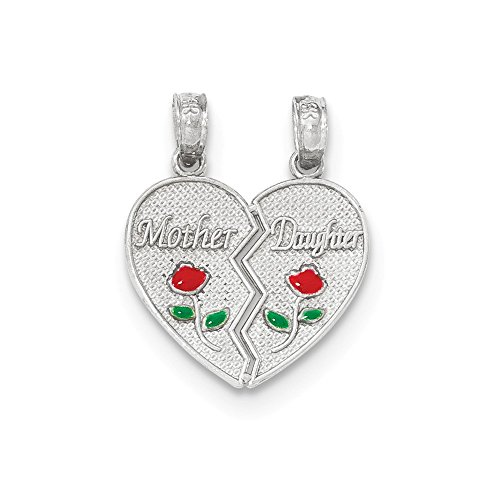 14k White Gold Mother Daughter Break-Apart Heart And Flowers Pendant (Daughter Break Apart Heart)
